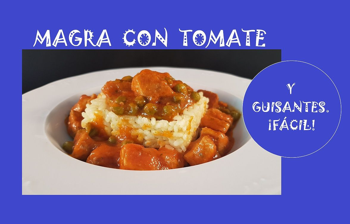 Magra con tomate y guisantes